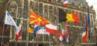 Lots of flags on the Aachen market square